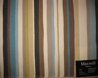Maxwell Summer Shadow Brown Stripe Cotton Designer Fabric Sample
