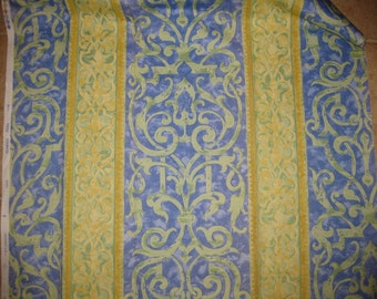 "Romanex Kalium Damask Like Stripe Designer Fabric Sample Blue Green Yellow 27""x42"""
