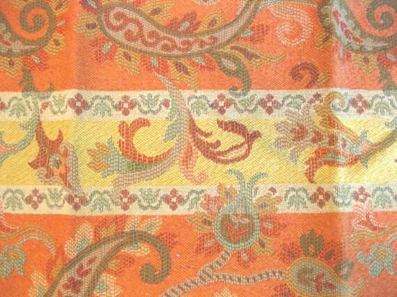 Yellow Orange Floral Stripe Tapestry Rug Designer Fabric Sample Highland Court