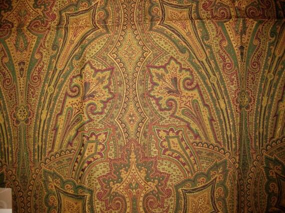 Green Red Gold Paisley Highland Court Designer Fabric Sample Elegant