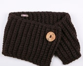 SAMPLE SALE - Spratters and Jayne 1-Button Lapel Cowl in Chocolate Brown, neckwarmer, chunky, knit, for women or men- Ready to Ship