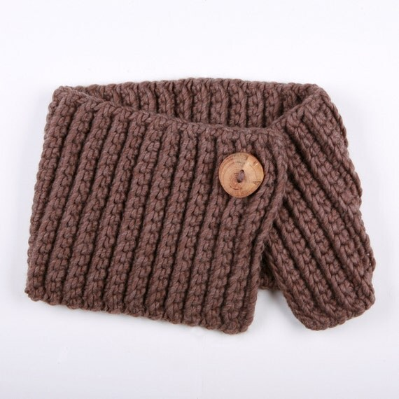 SAMPLE SALE - Spratters and Jayne 1-Button Lapel Cowl in Taupe, neckwarmer, shrug, crochet, chunky, knit, for women or men- Ready to Ship