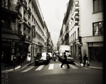 Montmartre Crosswalk - 5x5 Matted Black and White Print