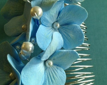 Deco Clay Blue Hydrangea Hair Comb with Embellished with Swarovski Pearls