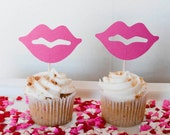 Pucker Up - Lip Cupcake Toppers - set of 12