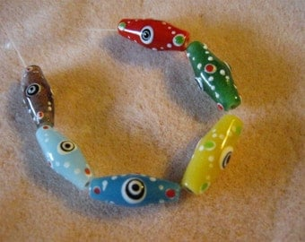 Multicolored Bicone Glass Evil Eye Beads