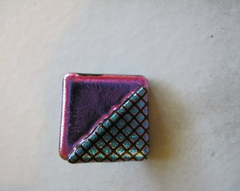 Pink Blue Fused Dichroic Glass Button