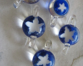 Glass White Stars on Blue Connector Beads