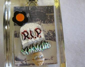 Halloween Graveyard  Skull Resin Pendant