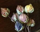 Sweet Lampwork Glass Floral Headpins Victorian Miniatures OOAK