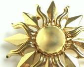 Vintage Brooch Sunburst Monet Goldtone Jewelry
