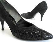 Vintage 1980's Black Glitter High Heeled Pumps, Size 7.5 M AA