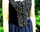 Upcycled Two Piece Navy Blue Prom Dress Formal, Modern Size 6, Small