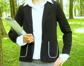 Vintage 1970's Black Jacket with White Trim, Modern Size 6, Small