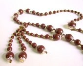 Vintage 1970's Brown Beaded Japan Tassel Necklace