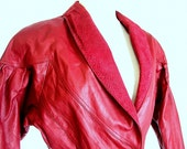 Vintage 1980's Red Leather Bomber Biker Jacket by Chia, Modern Size 8, Small