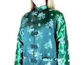 Green Oriental Jacket Vintage Quilted Satin Modern Size 14 Large