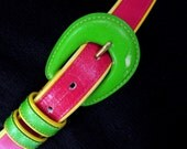 Vintage 1980's Neon Green and Hot Pink Belt, Modern Size 8 to 10, Small to Medium