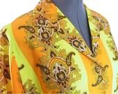 Vintage 1970s Blouse Orange Yellow Paisley Shirt, Modern Size 12 to 16 Large