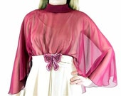 Vintage 1970's Prom Party Dress, Beige Samba Formal with Burgundy Capelet, Modern Size 8, Small