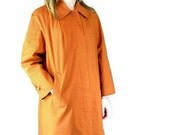 Vintage Orange Raincoat, Modern Size 14, Large