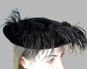 Vintage Black Hat Velvet and Feather 1950s Clip Hat