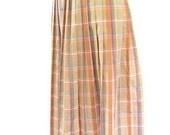 Vintage 1980's Tan and Peach Plaid Pleated Pendleton Skirt, Modern Size 10, Medium