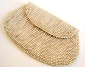 Vintage Pearl Envelope Clutch Evening Bag 1940s Miranda Purse