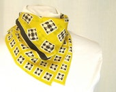 Yellow and Black Silk Scarf with a Hand Stitched Rolled Hem
