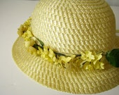 Vintage 1950's Natural Straw Easter Bonnet with Yellow Silk Flowers and Satin Ribbons