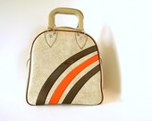 Vintage Bowling Bag Tan Faux Leather with Stripes