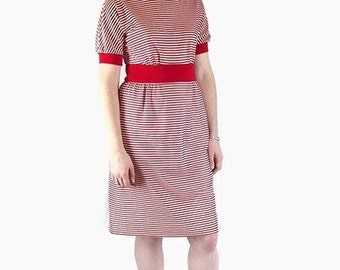 Vintage 1970's Nautical Red and White Striped Knit Dress, Modern Size 8, Small