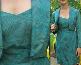 Upcycled Party Dress and Bolero Jacket, Teal Strapless Cocktail Dress, Modern Size 6, Small