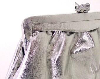 Vintage Silver Metallic Clutch Purse Evening Bag