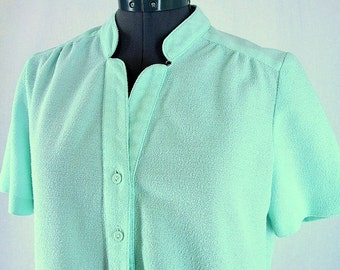 Vintage 1970's Mint Green Dress, Modern Size 14P, Large