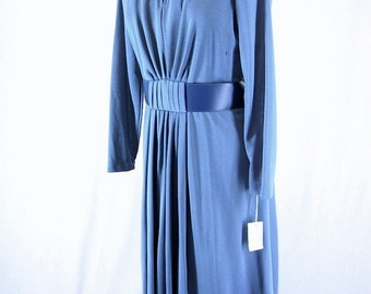 Vintage 1970's Blue Knit Dress, NWT, Modern Size 10, Medium