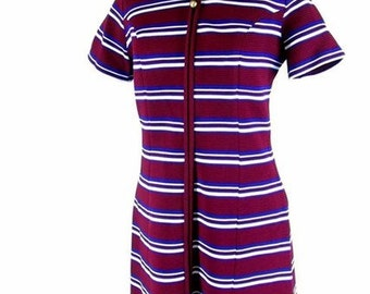 Vintage 1970's Red White and Blue Striped Knit Dress, Modern Size 8, Small