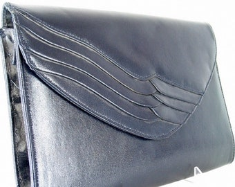 Vintage Envelope Clutch Purse, Blue 1980s Handbag