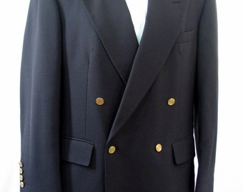 Vintage 1980's Mens Double Breasted Sport Coat Jacket, Size 42