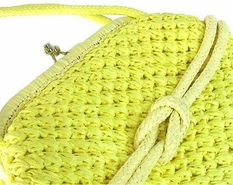 Vintage1960's Yellow Straw Handbag Purse