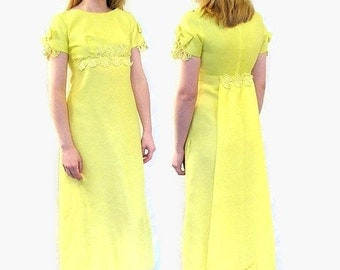 Vintage 1960's Yellow Prom Party Dress with Detachable Train, Modern Size 6 to 8, Small