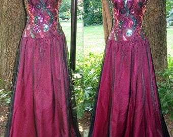 Upcycle Hot Pink and Black Sequined Prom Party Dress, Modern Size 2, Extra Small