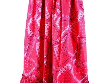 Vintage 1970's Long, Red Bandana Maxi Skirt, Modern Size 2, Extra Small