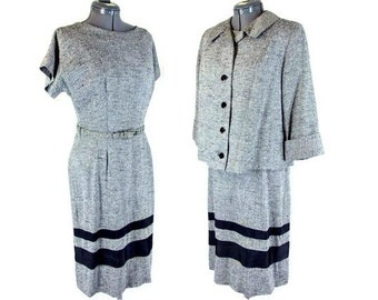 Vintage 1950's Black and White Dress by Fred Rothschild with Swing Jacket, Modern Size 8, Small