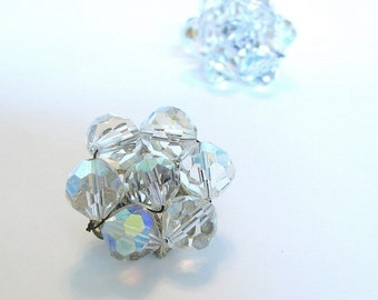 Vintage 1950's Clear Sparkly Cluster Clip On Earrings
