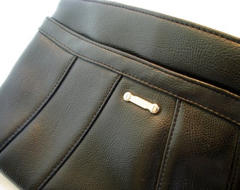 1980's Black Leather Clutch Purse