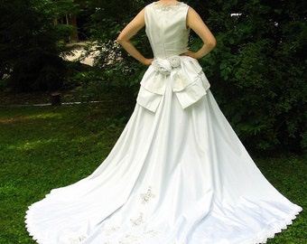 Eco Wedding Dress with Detachable Train, Upcycled Refashioned Bridal Gown, Modern Size 6, Small