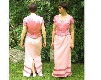 Upcycled Dusty Rose Prom Party Two Piece Dress, Modern Size 8, Small