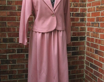 Vintage 1980's Pink Wool Suit, Cropped Jacket and Skirt,  Modern Size 8, Small