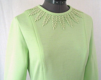 Vintage 1970's Mint Green Party Dress, Size 8 to 10, Small to Medium